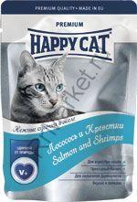 Happy Cat Нежные кусочки в желе (Лосось и креветки) 100гр (пауч)