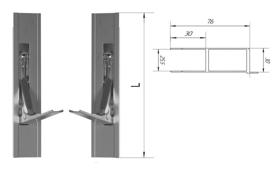 Стойка алюминиевая 400 мм (с бортиком) (Арт: 30400)