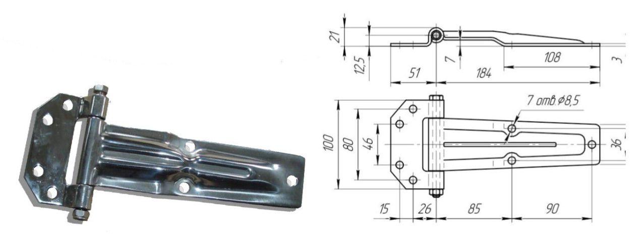 Петля бокового портала 185 мм Zn (коническая) (Арт: 41025)