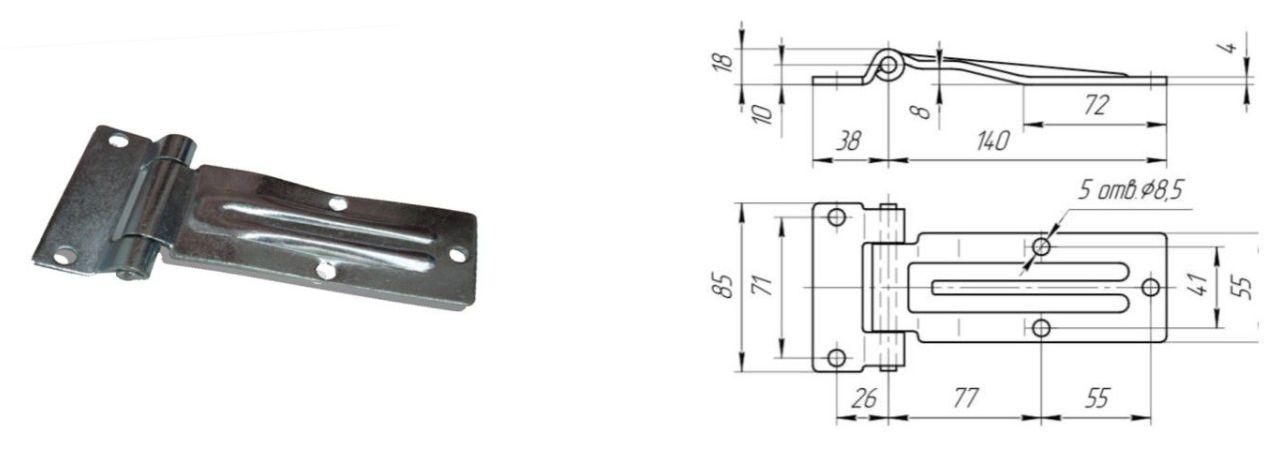 Петля бокового портала 140 мм Zn (Арт: 41230)