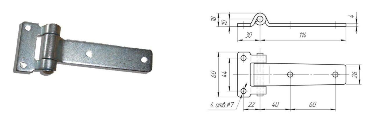 Петля 115 мм SS (прямая) (Арт: 41317)