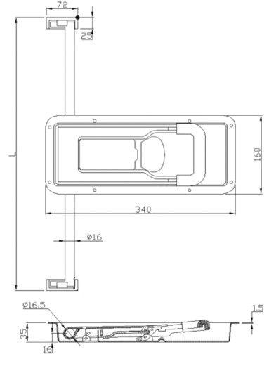 Замок штанговый для ворот под трубу D=16 мм (Арт: 011600S)