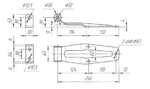 Петля ворот L=249 мм (Арт: 02009S)
