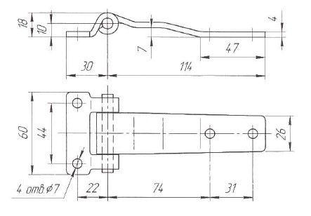 Петля дверей L=114 мм (Арт: 030400S)