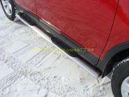 Пороги овальные с накладкой 120х60 мм (TOYRAV 13-07) для Toyota Rav 4 2013 -