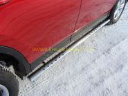 Пороги овальные с проступью 75х42 мм (TOYRAV 13-09) для Toyota Rav 4 2013 -