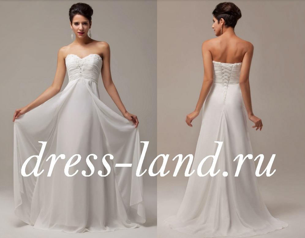 Белое вечернее платье со шлейфом 86522d00262