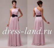 Розовое вечернее платье с цветком