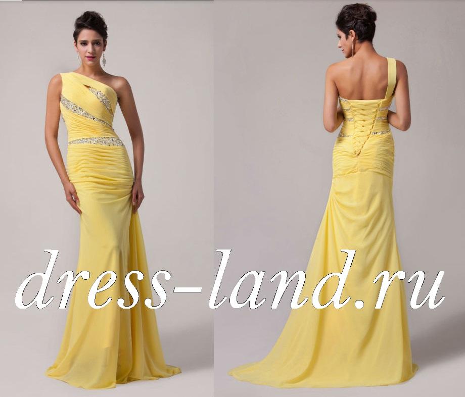 Желтое вечернее платье со шлейфом 2c9d1c9d570