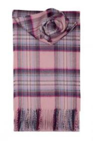 кашемировый шарф (100% драгоценный кашемир) , расцветка  клан Стюартов-Розовый вариант