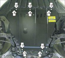 Защита картера Motodor, сталь 2мм., мотор 1.6л