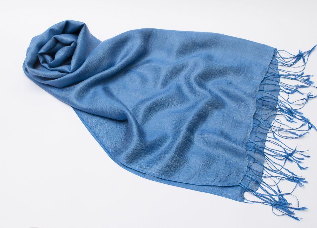 Прохладный синий шарф-палантин из шелка с шерстью (отправка из Индии)