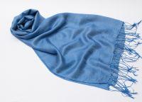 Синий шарф палантин из шелка и шерсти, 1450 руб.