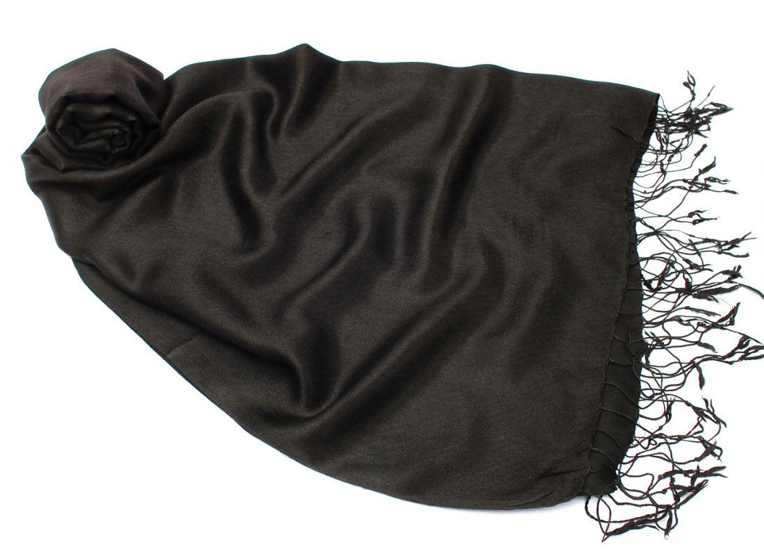 Шёлк + шерсть, черный шарф-палантин (Москва)