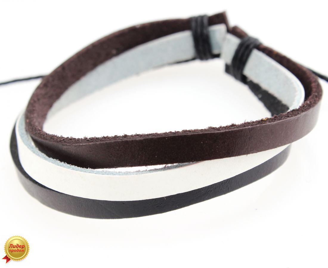 Кожаный браслет из трех полос