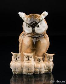 Сова с совятами, миниатюра, Sitzendorf, Германия, вт. пол. 20 в., артикул 00916