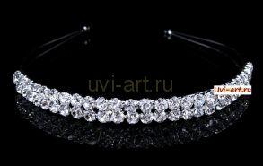 Элегантная позолоченная белым золотом диадема-ободок невесты с кристаллами Сваровски