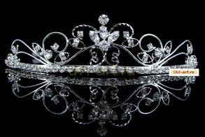 """Элегантная позолоченная белым золотом диадема невесты """"Nympha"""" с кристаллами Сваровски"""