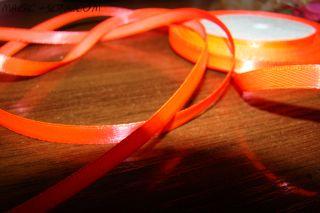 Лента атласная ярко оранжевая
