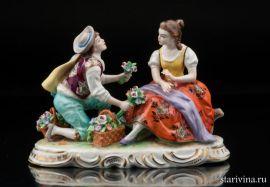Пара с цветами, Sitzendorf, Германия, сер. 20 века