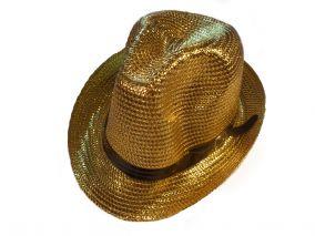 Шляпа золотисто  блестящия летная унисекс