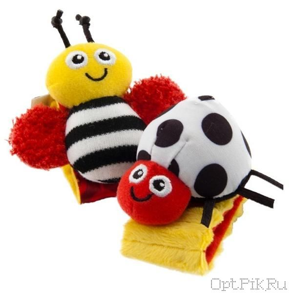 Браслетики на ручку для малышей LAMAZE (черно-белые насекомые)
