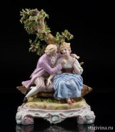 Пара, романтическое свидание под деревом, Германия, кон. 19 века