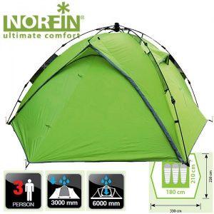 Купить Палатка автоматическая 3-х местная Norfin TENCH 3 NF-10402