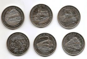 125 лет Американским железным дорогам 1 крона Остров Мэн  1998 Набор из 6-ти монет
