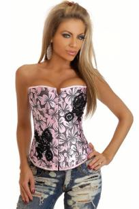 Атласный розовый корсет с цветами