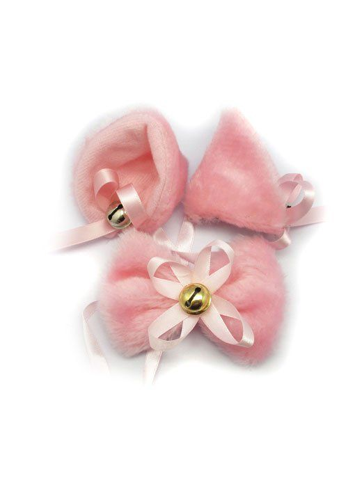 Ушки с бубенчиком и бантик на шею розовые