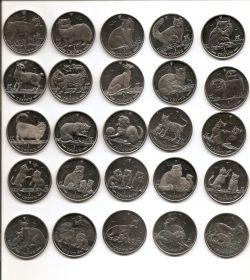 Кошки  Набор 25 монет  1 крона Остров Мэн 1988-2012