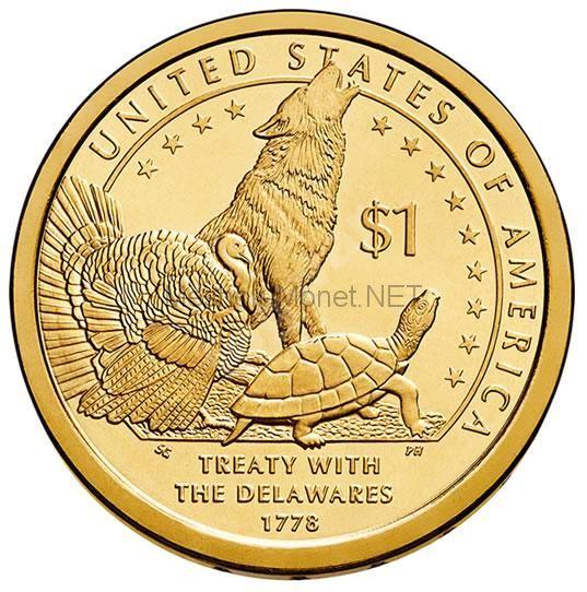 1 доллар США 2013 год Серия Доллар Сакагавеи Договор с делаварами