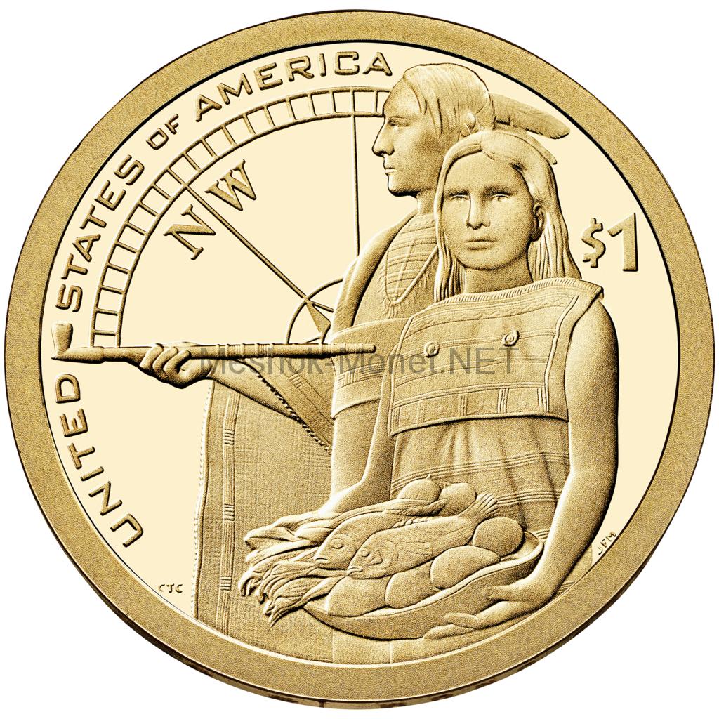 1 доллар США 2014 год Серия Доллар Сакагавеи Помощь индейцев экспедиции Льюиса и Кларка
