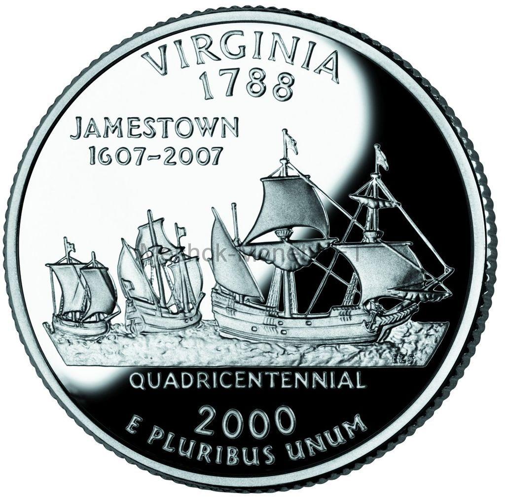 25 центов США 2000 штат Вирджиния