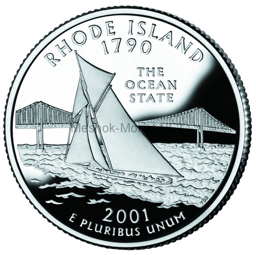 25 центов США 2001 штат Род-Айленд