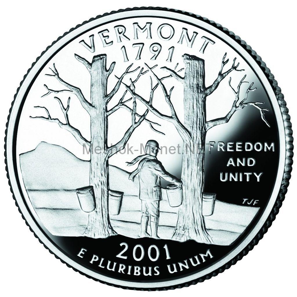 25 центов США 2001 штат Вермонт
