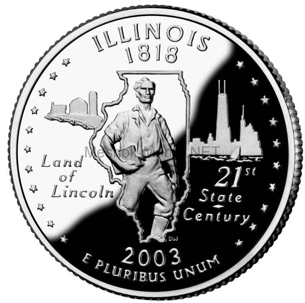 25 центов США 2003 штат Иллиноис