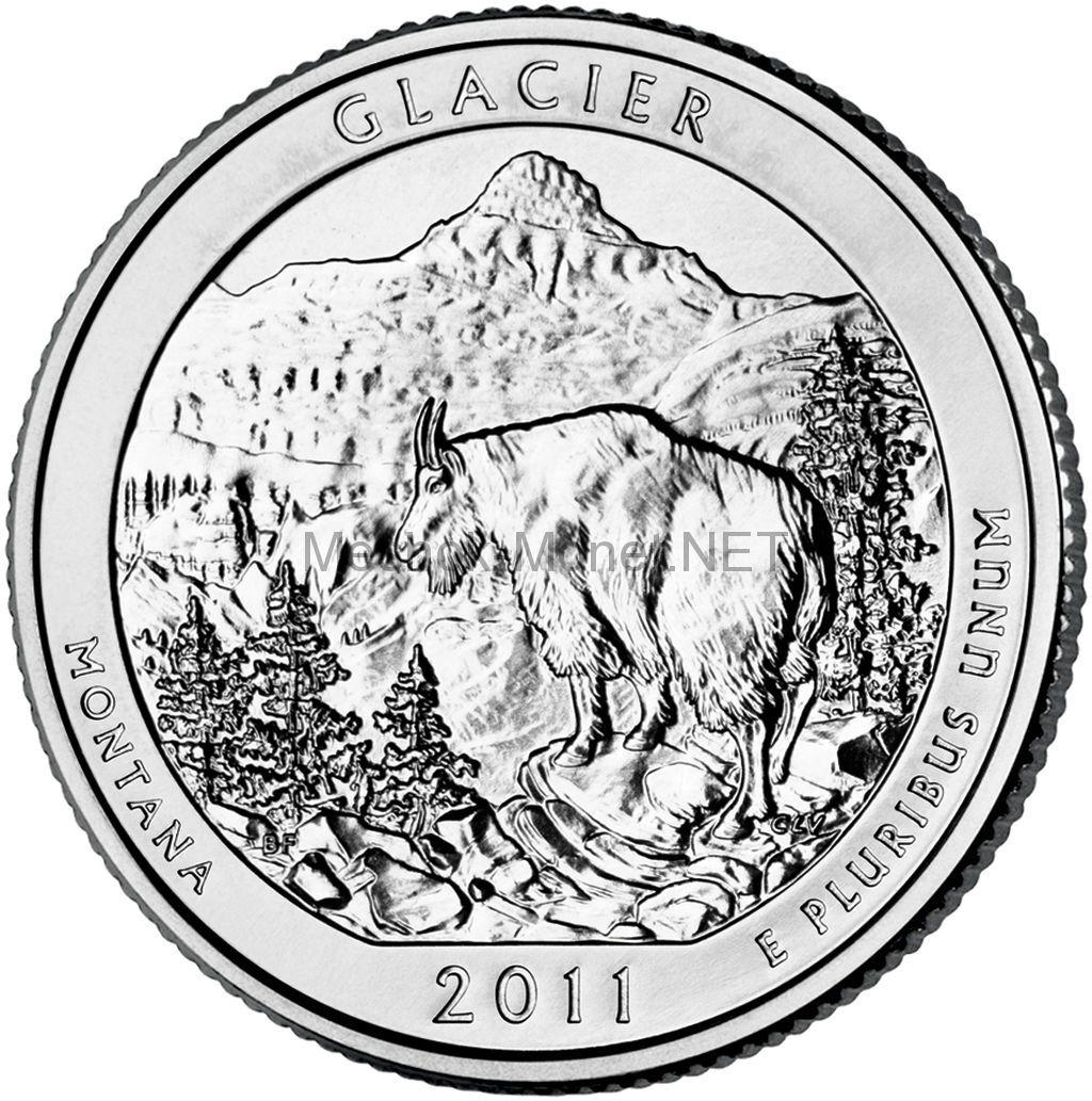 25 центов США 2011 Национальный парк Глейшер