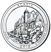25 центов США 2012 Национальный парк Акадия