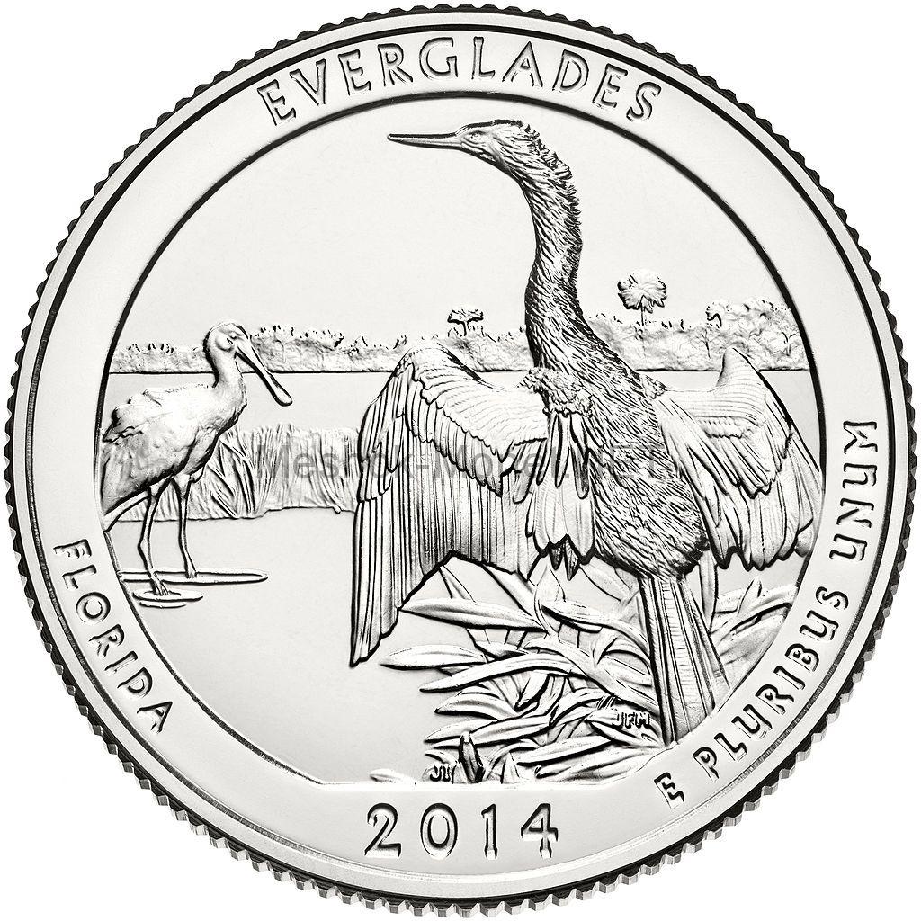 25 центов США 2014 Национальный парк Эверглейдс