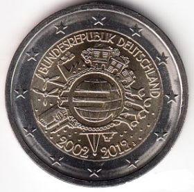 Германия 2 евро 2012 10 лет евровалюте Монетный двор A