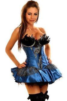 Красивый голубой корсет с юбкой