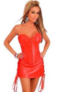 Красный корсет с юбкой из экокожи