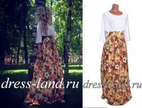 Летнее платье в пол с цветочным принтом