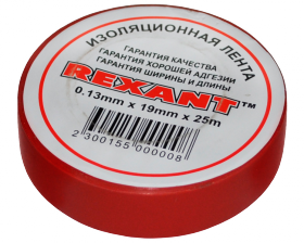 Изолента 19мм х 25м красная REXANT