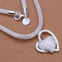 Кулон сердце с покрытием серебром на объемной цепочке
