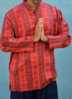 Мужская красная индийская рубашка с символом ОМ, Москва