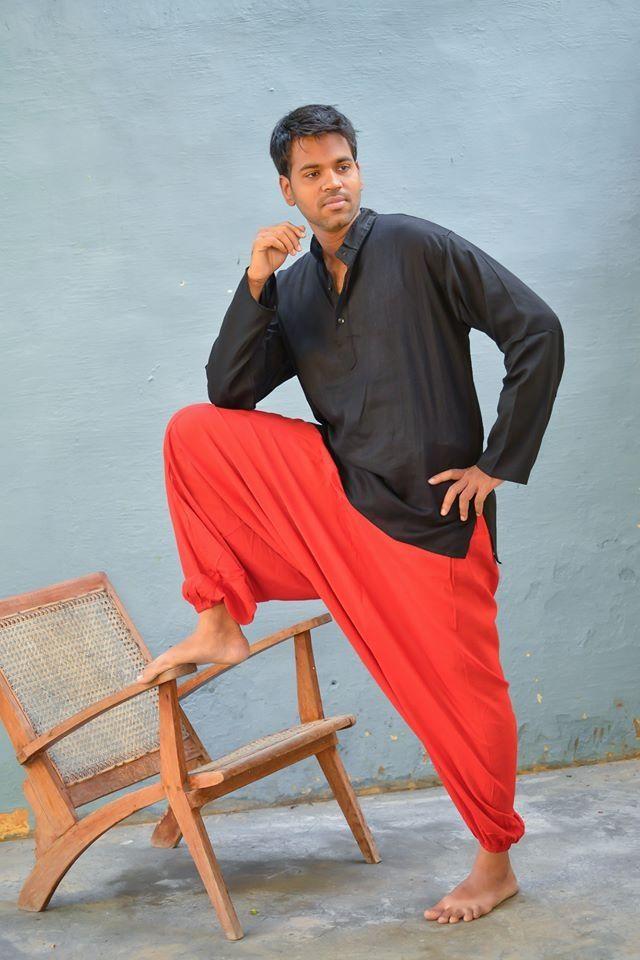 Мужские красные афгани из хлопка (отправка из Индии)