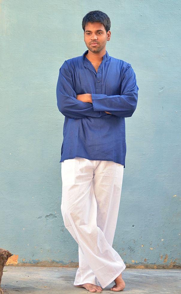 Синяя мужская рубашка из хлопка (отправка из Индии)